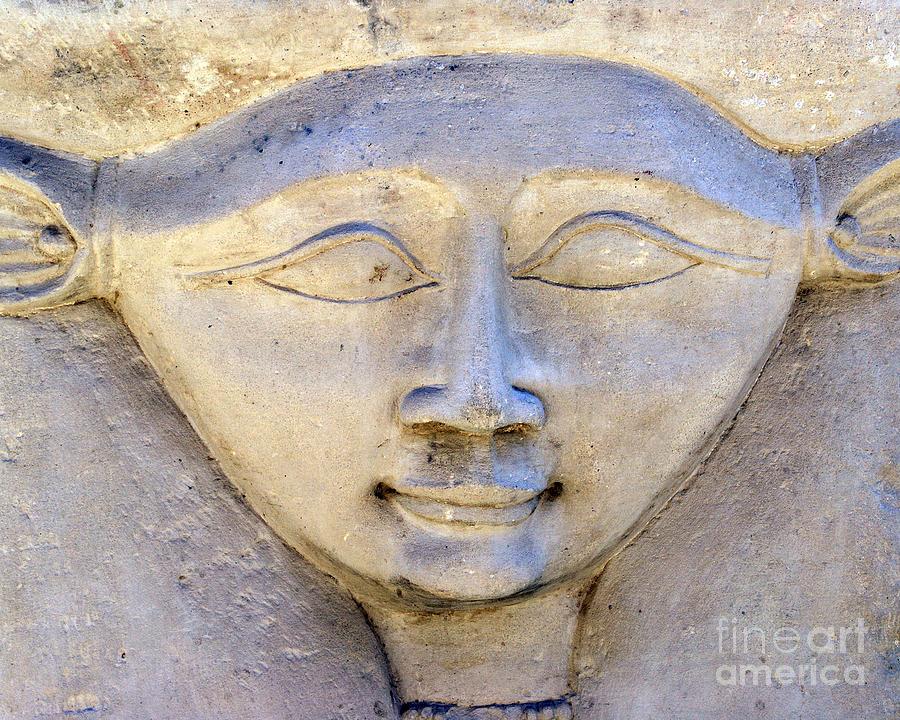 Hathor Photograph - Dendara Carving 2 - Hathor by Brian Raggatt