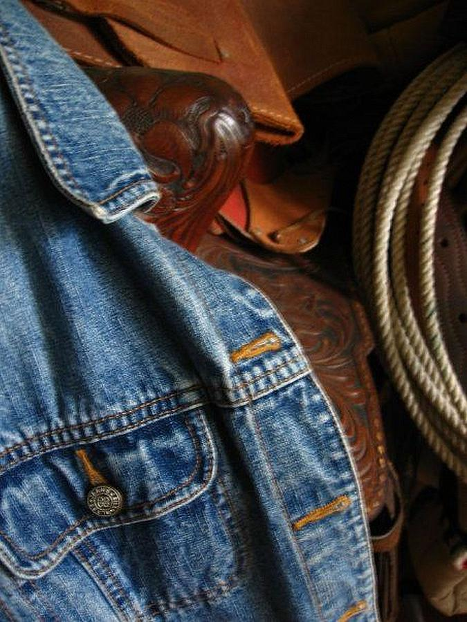 Saddles Photograph - Denim And Leather by Deb Martin-Webster