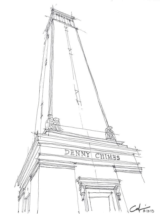 Sketch Drawing - Denny Chimes Sketch by Calvin Durham