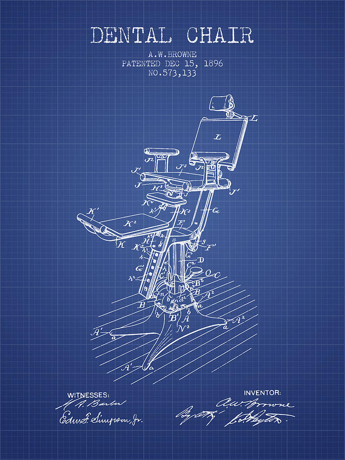 Dental chair patent drawing from 1896 blueprint digital art by dental digital art dental chair patent drawing from 1896 blueprint by aged pixel malvernweather
