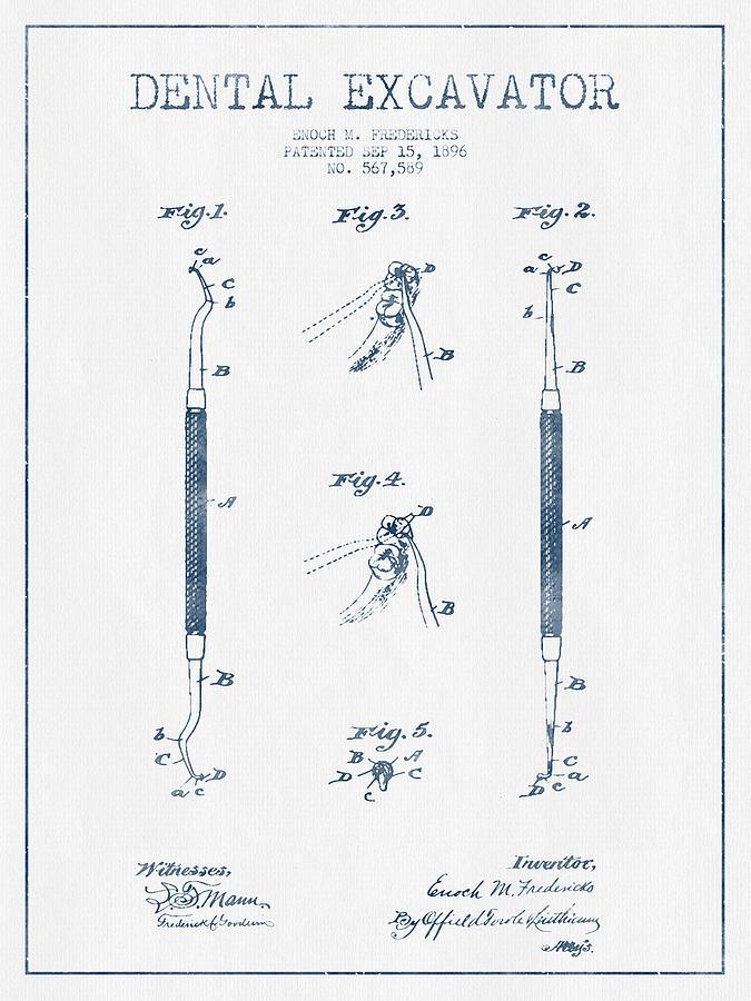 Dental Excavator Patent Drawing From 1896 - Blue Ink Digital Art