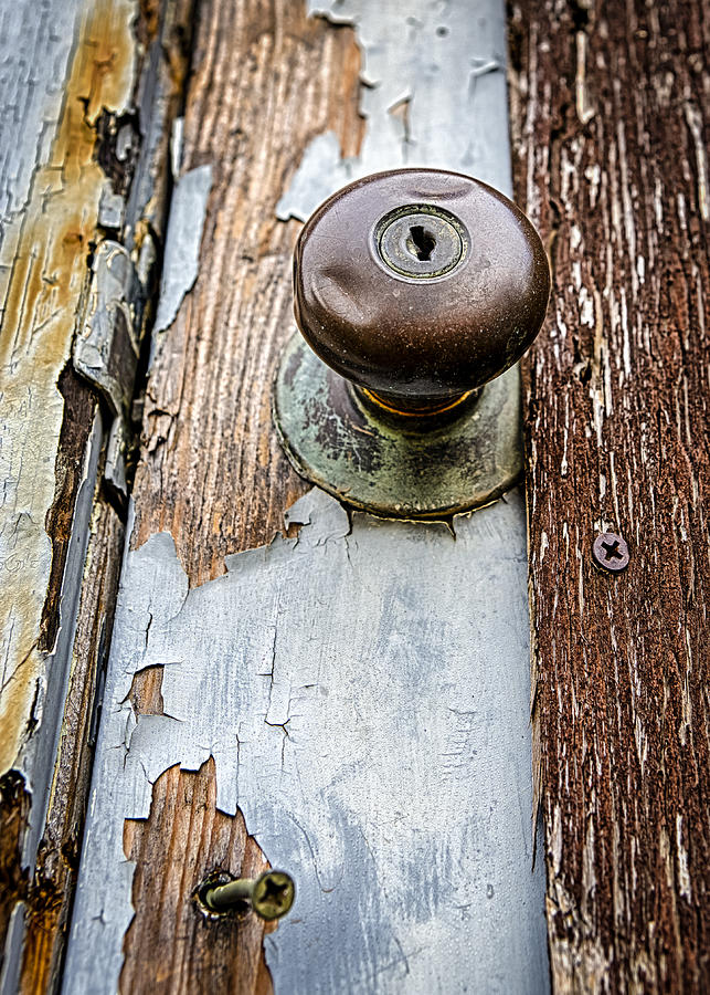Dented Doorknob Photograph - Dented Doorknob by Caitlyn  Grasso