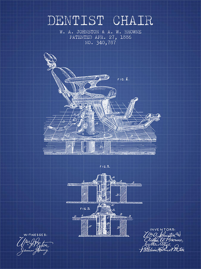 dentist chair patent from 1886 blueprint digital art by aged pixel