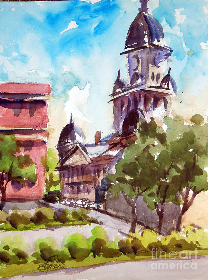 Buildings Painting - Denton County Courthouse Tx by Ron Stephens