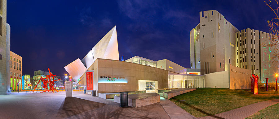 Night Photograph - Denver Art Museum at Night by James O Thompson