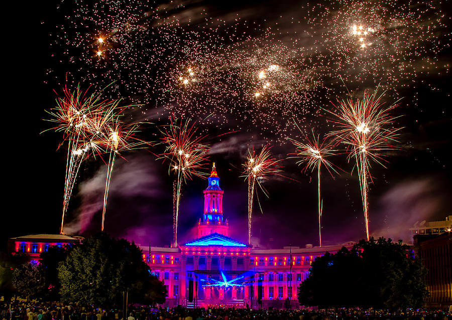 4th Photograph - Denver Colorado Independence Eve Fireworks by Teri Virbickis
