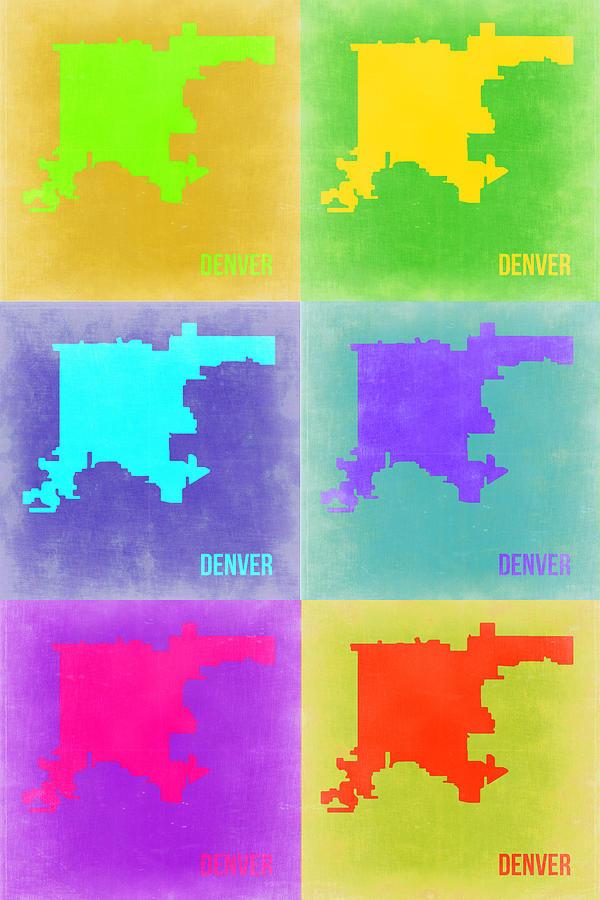 Denver Painting - Denver Pop Art Map 3 by Naxart Studio