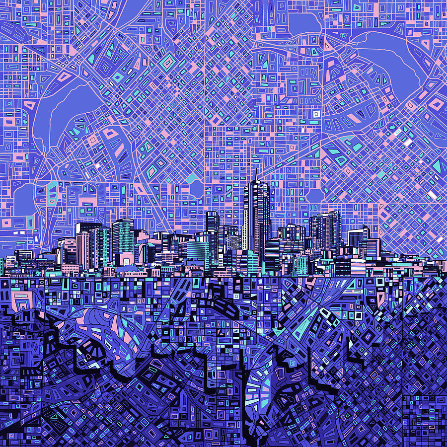 Denver Skyline Abstract 4 Painting By Bekim Art