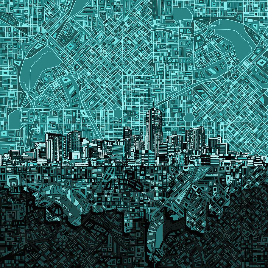 Denver Skyline Painting - Denver Skyline Abstract 5 by Bekim M