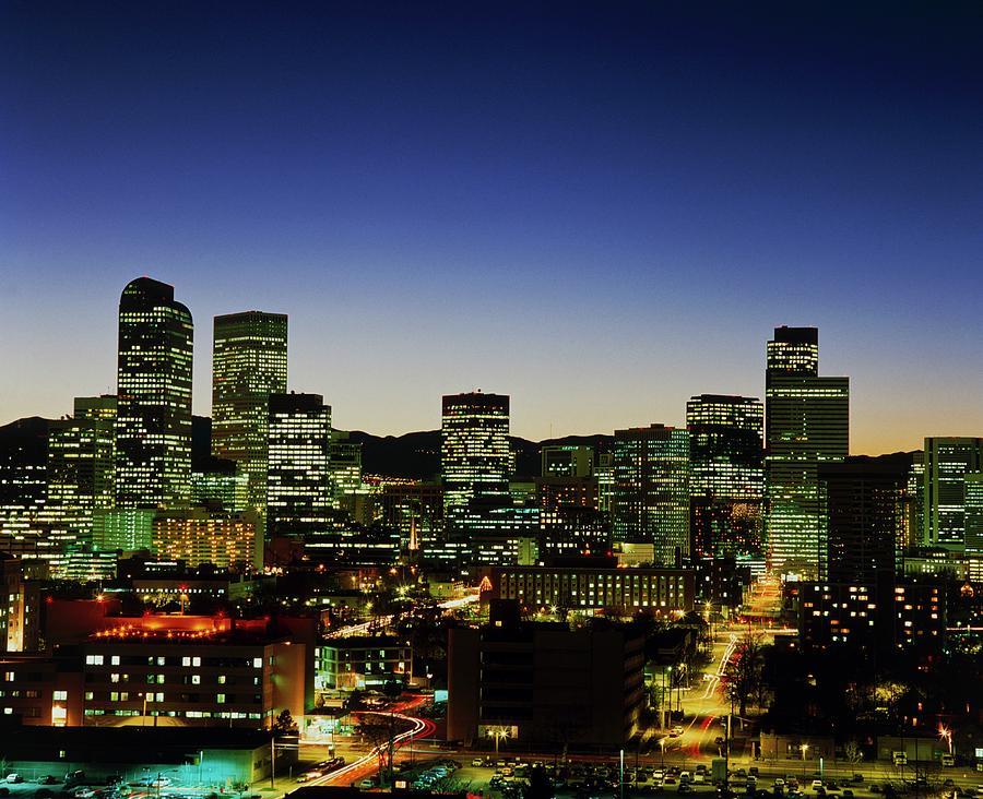 Denver Skyline At Night Photograph By Alex Bartel Science