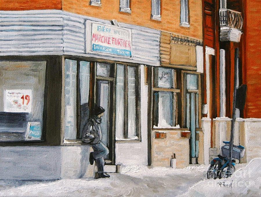 Depanneurs Painting - Depanneur Marche Fortier Verdun by Reb Frost