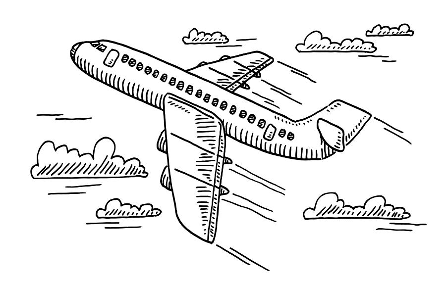 Departing Airplane Drawing Drawing by FrankRamspott