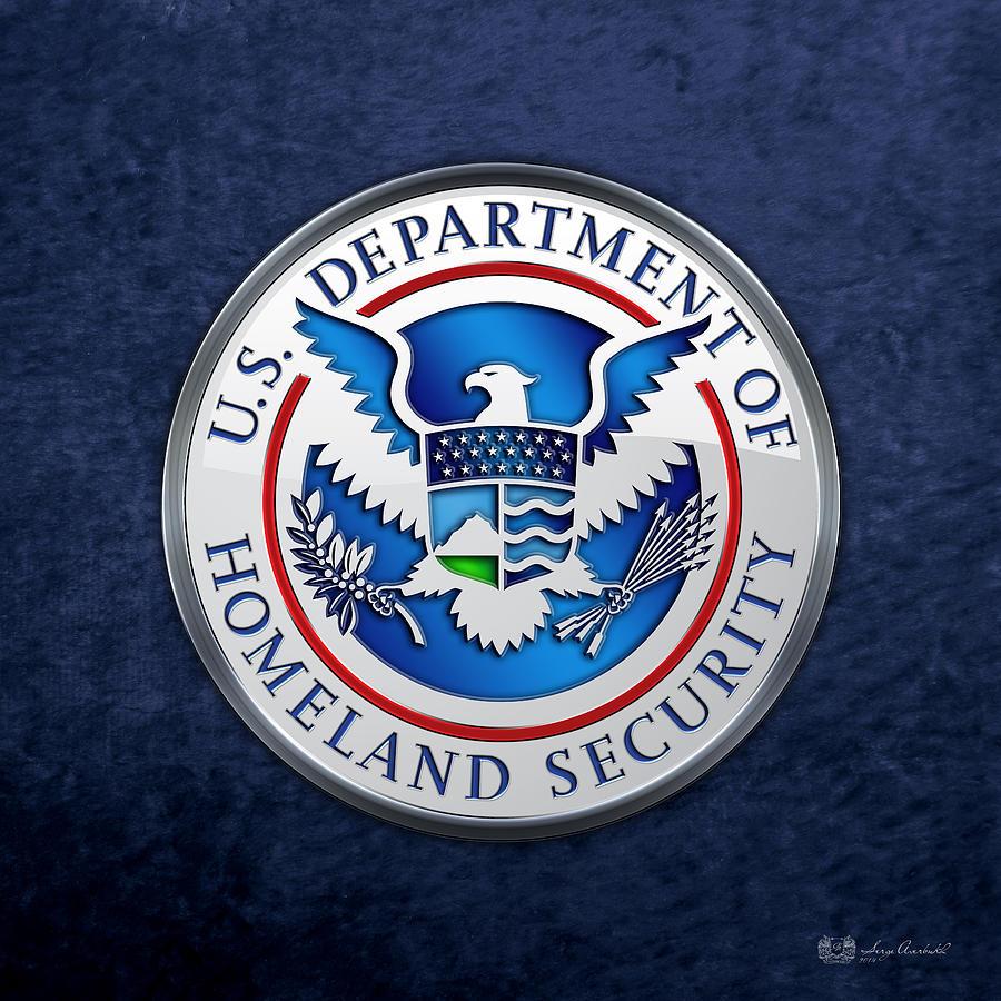 Militaria Digital Art - Department Of Homeland Security - D H S Emblem On Blue Velvet by Serge Averbukh