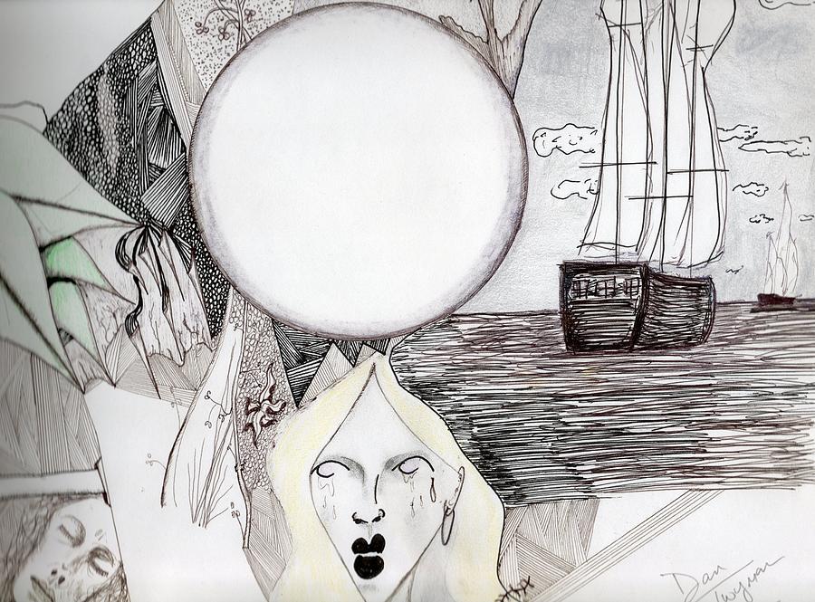 Ships Drawing - Departure by Dan Twyman