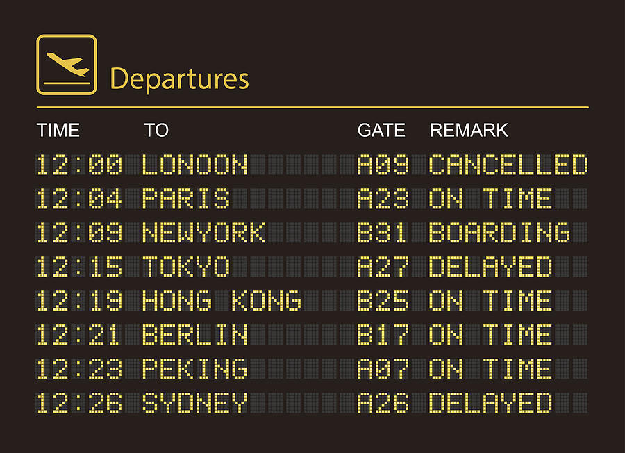 Departures information board Drawing by Lvcandy