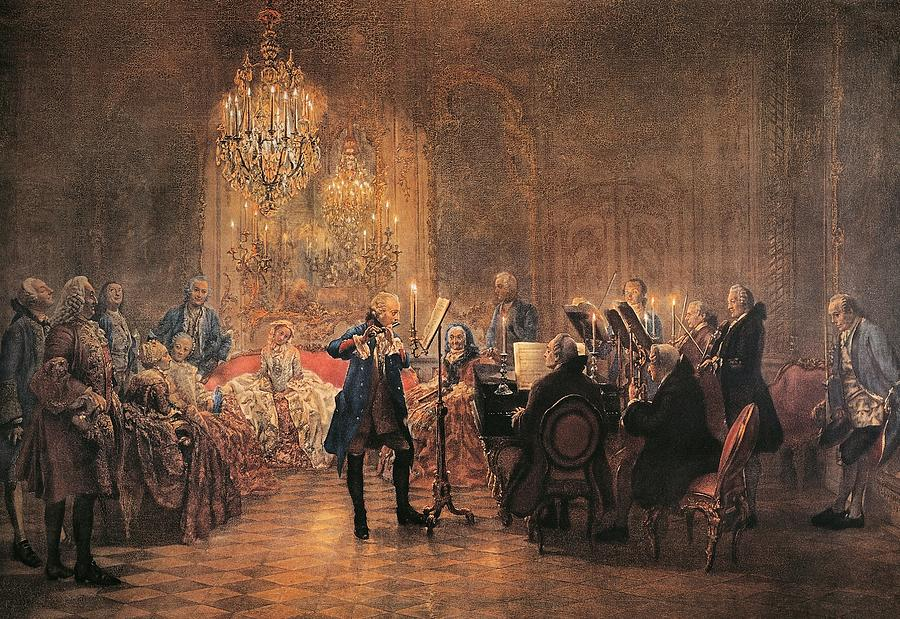 depicting a flute concert of frederick the great painting