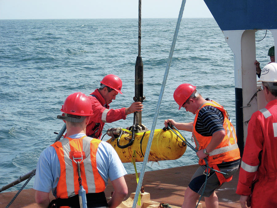 Depressor Weight Being Lifted Aboard Photograph By B Murton Southampton Oceanography Centre