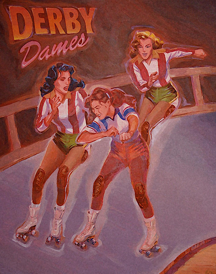 Roller Derby Painting - Derby Dames by Shawn Shea