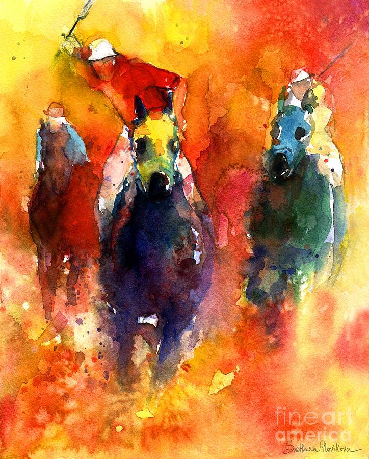Polo Horse Painting - Derby Horse Race Racing by Svetlana Novikova