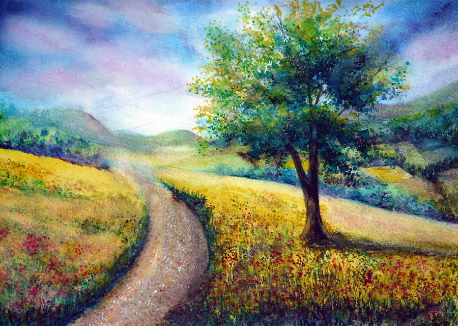 Nature Painting - Derbyshire View by Ann Marie Bone