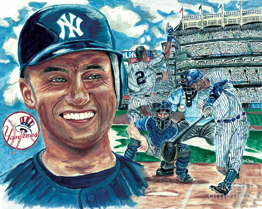 Derek Jeter 3000 Hit Painting By Israel Torres