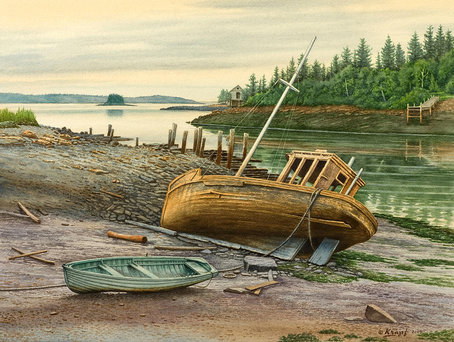 Harbor Painting - Derelict Boat by Paul Krapf