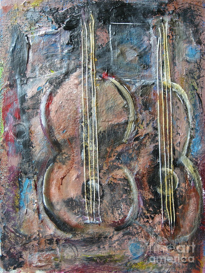Guitar Painting - Derniere Chanson by Chaline Ouellet