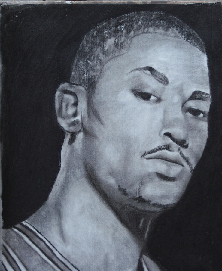 Chicago Drawing - Derrick Rose by Aaron Balderas