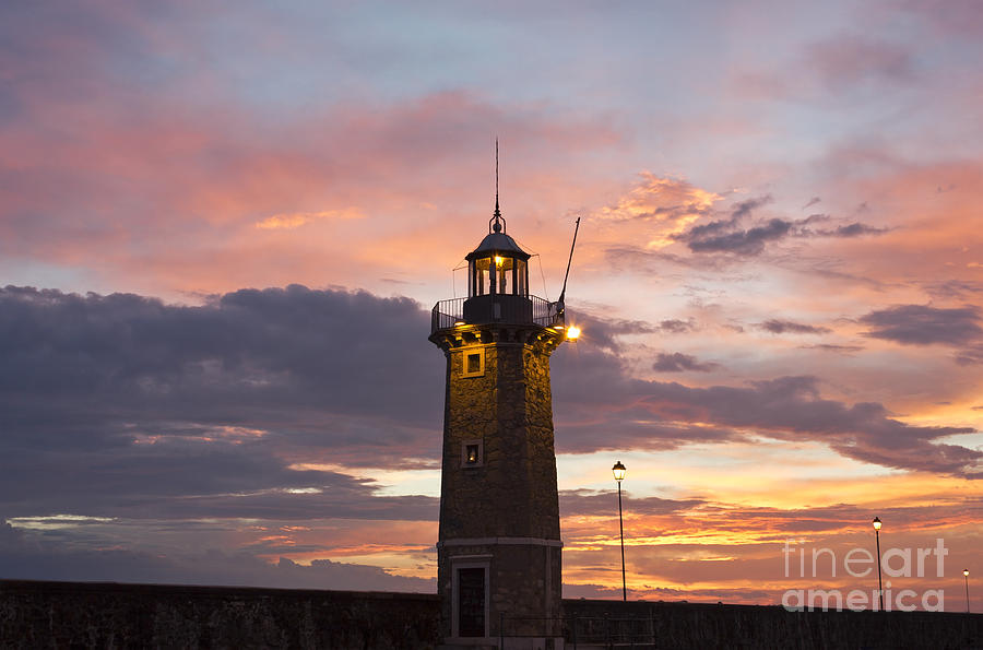 Sun Photograph - Desenzano Del Garda The Old Harbor Lighthouse by Kiril Stanchev