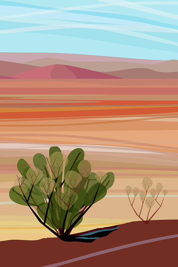 Desert, Cactus Brush, Mountains In Photograph by Charles Harker