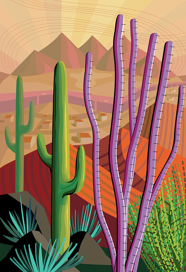 Desert, Cactus, Mountains Landscape Photograph by Charles Harker