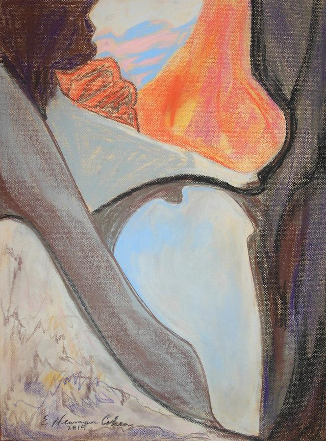 Desert Drawing - Desert Canyon Pool In The Negev by Esther Newman-Cohen