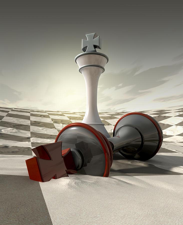 Chess Digital Art - Desert Chess Defeat by Allan Swart