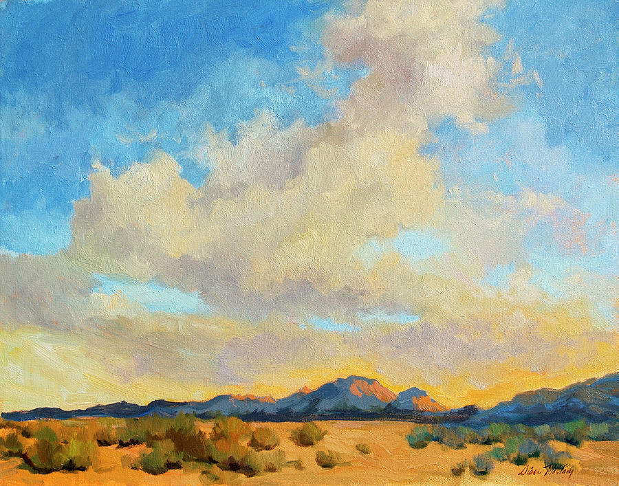Mountains Painting - Desert Clouds by Diane McClary
