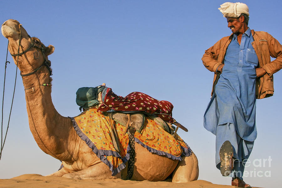 Adventure Photograph - Desert Dance Of The Dromedary And The Camel Driver by Jo Ann Tomaselli