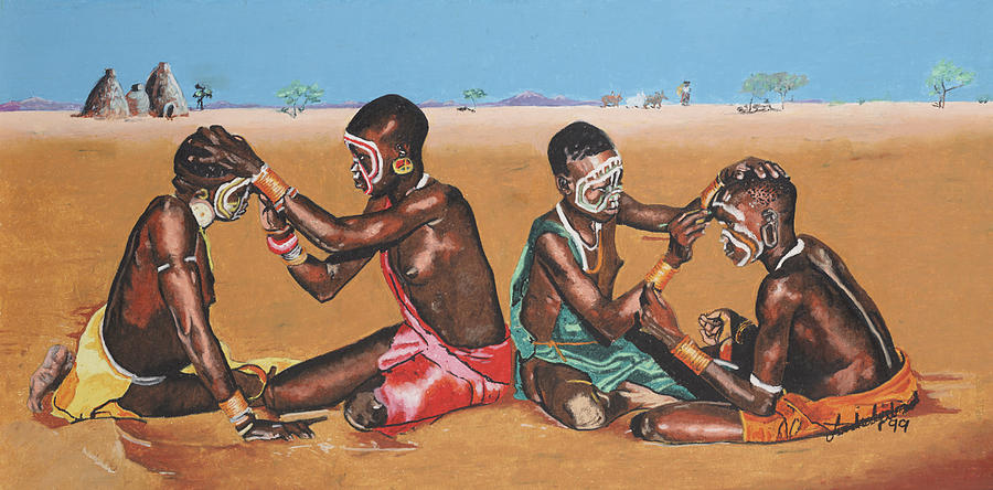 Africa Painting - Desert Dolls by Andre Ajibade