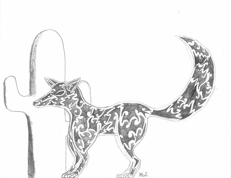 Pencil Drawing - Desert Fox  by Kali Kardsbykali