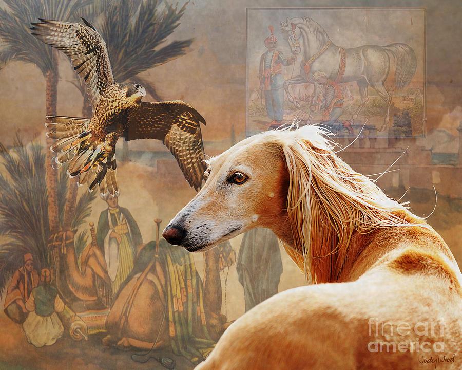 Saluki Digital Art - Desert Heritage by Judy Wood