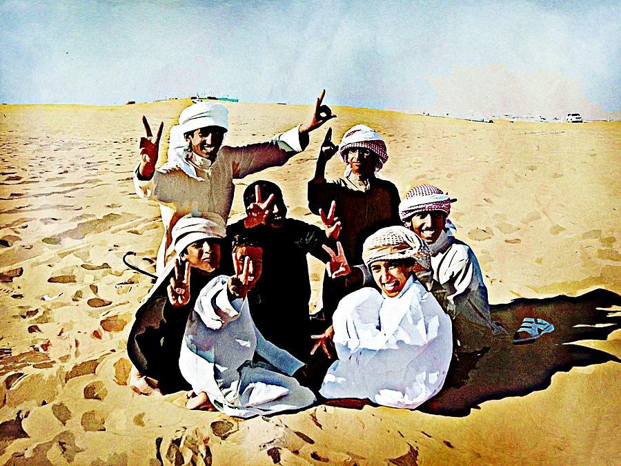 Abu Dhabi Digital Art - Desert Kids by Peter Waters