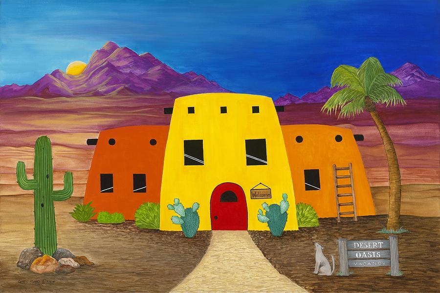 Cactus Painting - Desert Oasis by Carol Sabo