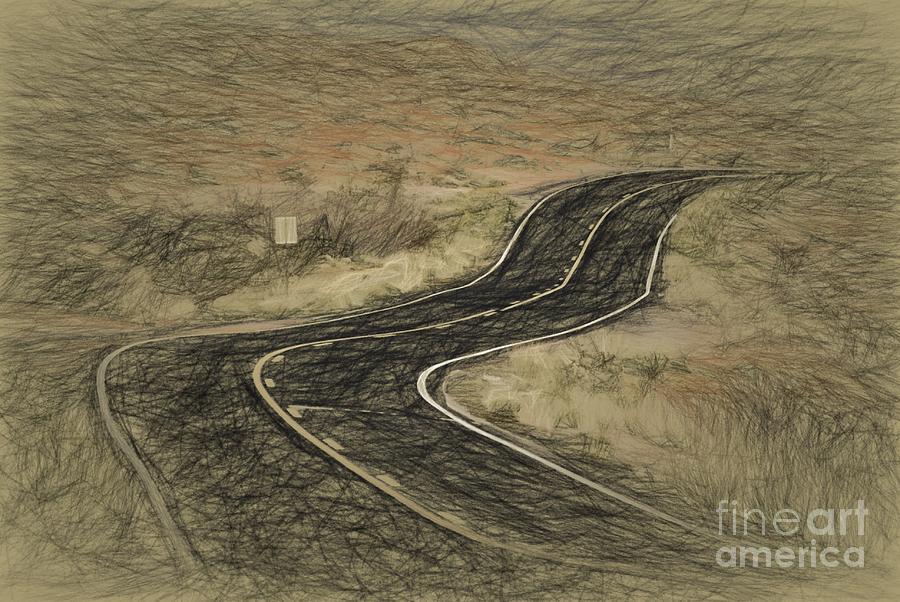 Road Photograph - Desert Road by Les Palenik