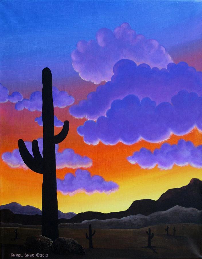Desert Painting - Desert Sunset by Carol Sabo
