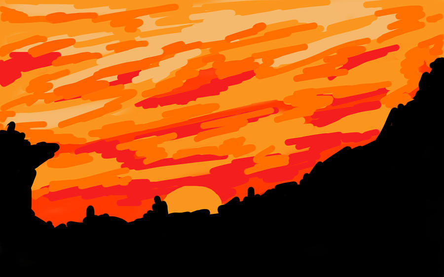 Desert Digital Art - Desert Sunset by Jera Sky
