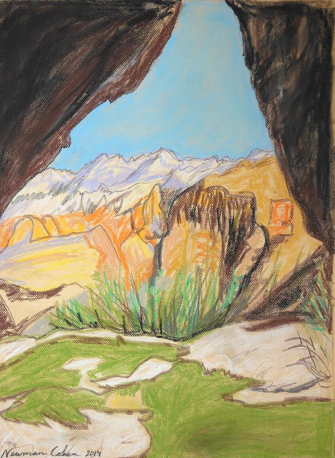 Desert View From The Cave Drawing - Desert View From The Cave by Esther Newman-Cohen