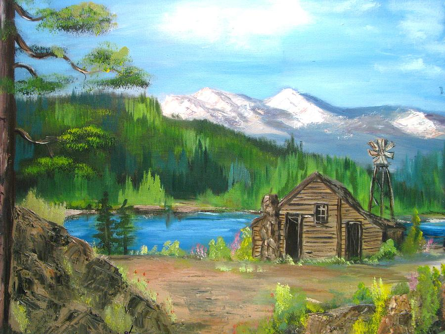 Log Cabin On Lake Acrylic Painting