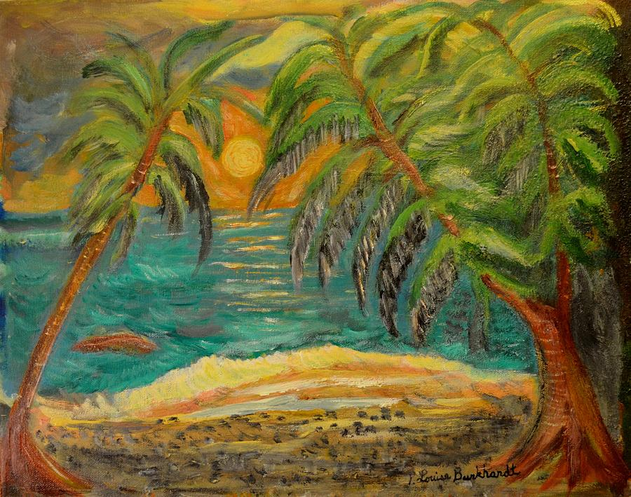 Tropical Painting - Deserted Tropical Sunset by Louise Burkhardt