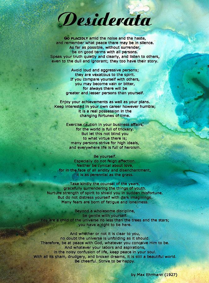 Desiderata Painting - Desiderata 2 - Words Of Wisdom by Sharon Cummings