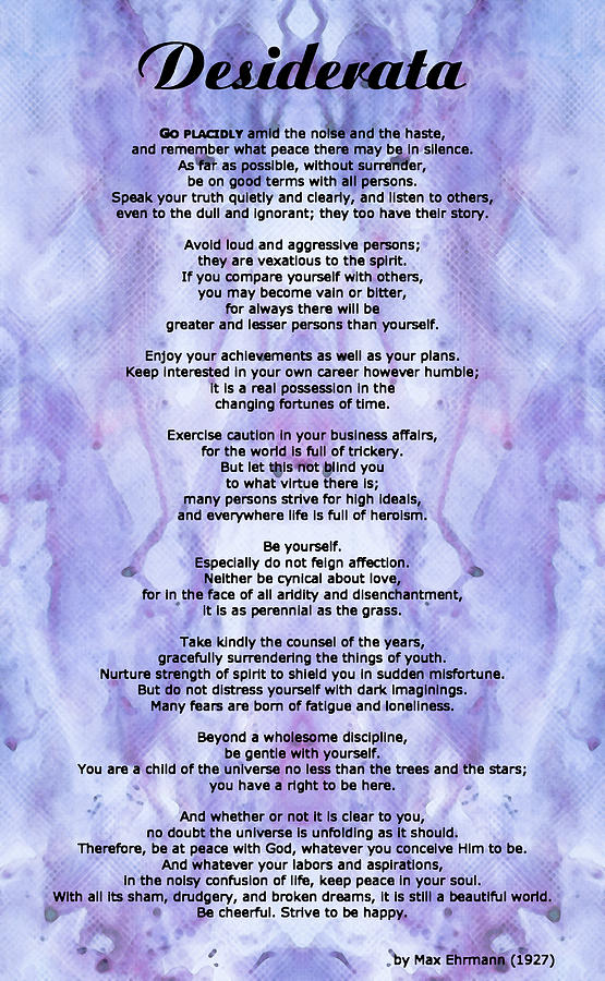 Desiderata Painting - Desiderata 3 - Words Of Wisdom by Sharon Cummings