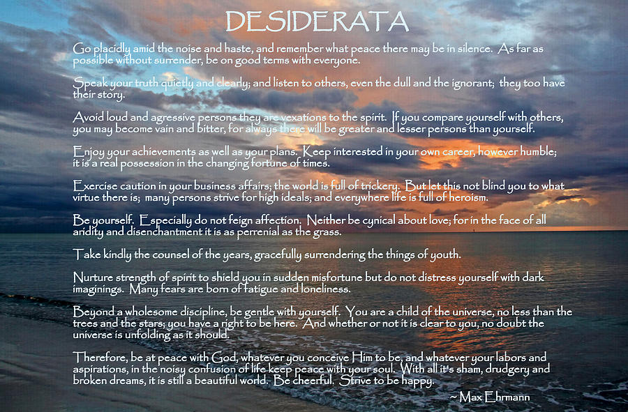 Desiderata Photograph - Desiderata by HH Photography of Florida