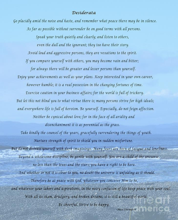 Desiderata Mixed Media - Desiderata On Beach And Ocean Scene by Barbara Griffin